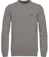 crew neck lambswool blend jumper stickad tröja m. rund krage grå lyle & scott
