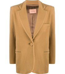 andamane structured-shoulder single breasted blazer - neutrals