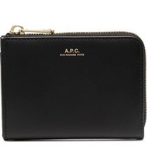 a.p.c. curved zip wallet - black