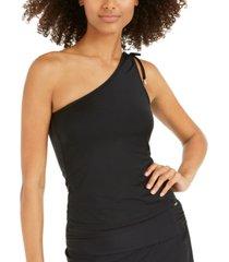 dkny one-shoulder tankini top women's swimsuit