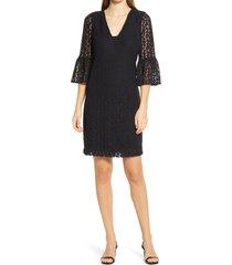 women's lilly pulitzer jaclene leopard lace onyx dress, size small - black