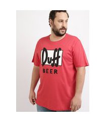 camiseta masculina plus size duff beer os simpsons manga curta gola careca vermelha