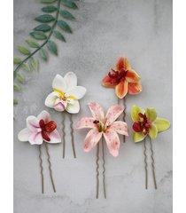 kolorowe tropikalne spinki do włosów - 5 sztuk