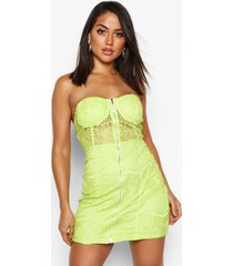 strapless mini jurk met kanten cups, lime