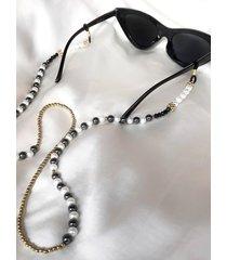 łańcuszek do okularów - perły, onyks