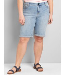 lane bryant women's lane essentials venezia denim bermuda short - light wash 12 light denim