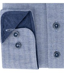 sleeve7 heren overhemd blauw met wit herringbone modern fit