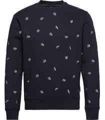 all-over embroidered crewneck sweat sweat-shirt tröja blå scotch & soda