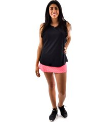 regata rich young fitness preta + shorts saia fitness rosa com preto