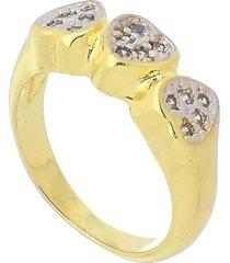 anel três corações com zircônias 3rs semijoias dourado