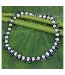 lapis lazuli and pearl strand necklace, 'devoted love' (thailand)