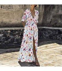 zanzea mujeres maxi beach party largo vestido de tirantes club del coctel de vacaciones vestido floral -blanco