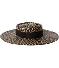 june grosgrain-trimmed faux straw hat