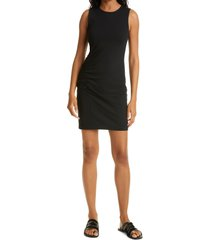 club monaco side seam ruched dress, size x-large in caviar at nordstrom