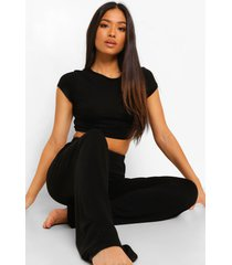petite crop top en wide leg broek pyjama set