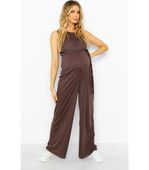 zwangerschap geribbelde jumpsuit met ceintuur, charcoal