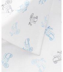 michaelis overhemd wit scooter print kent single cuff ml7 slim fit