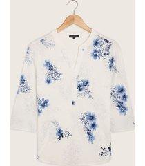 blusa con manga 3/4 cuello mao escote en v-l