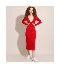 vestido canelado com vazado midi manga longa vermelho