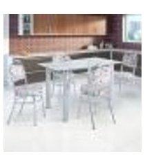 conjunto de mesa de cozinha com tampo vidro e 4 lugares vigo corino incolor e colorido
