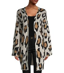 stellah women's animal pattern open-front cardigan - leopard - size l