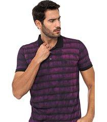camisa polo polo wear reta jacquard preta/roxa