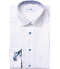 men's eton slim fit solid dress shirt, size 16.5r - white