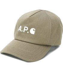 a.p.c. logo print twill cap - green