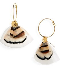 women's gas bijoux bermude feather hoop earrings