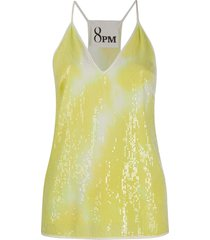 8pm v-neck tie dye print vest top - yellow