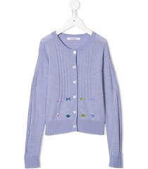 familiar cable knit cardigan - purple