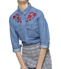 blusa denim bordada azul 7.5 setepontocinco
