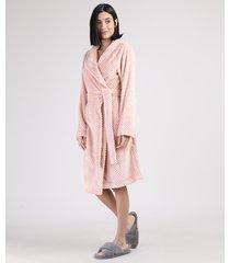 roupão feminino texturizado de plush com faixa para amarrar manga longa rosa claro