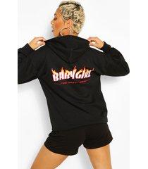babygirl hoodie met brandende print op rug, black