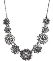 "marchesa hematite-tone crystal & imitation pearl cluster statement necklace, 16"" + 3"" extender"