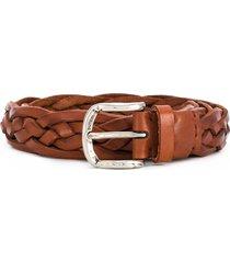 brunello cucinelli braided strap belt - brown