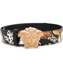 versace palazzo barocco mix-print belt - black