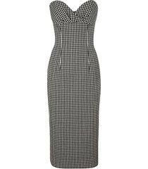 balmain slim rear zip checked dress