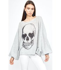 sash heart eye skull - m/l heather grey