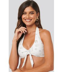 na-kd swimwear big knot bikini top - white