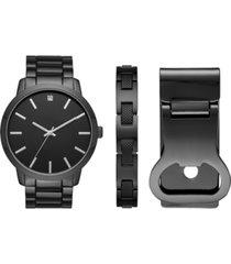 folio men's gunmetal-tone bracelet watch 48mm gift set