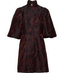 jacquard korte jurk bruin ganni