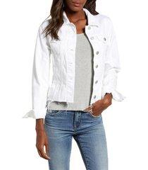 women's blanknyc cutoff denim jacket, size large - white