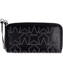 jimmy choo filipa zip-around leather wallet with stars