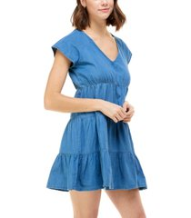 rosie harlow juniors' cotton chambray babydoll dress