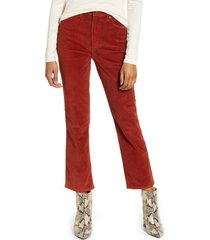 lee high waist straight leg corduroy ankle pants, size 24 in burnt henna cord at nordstrom
