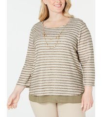 alfred dunner plus size cedar canyon layered-look necklace top