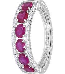 anello in oro bianco, rubini 1,22 ct e diamanti 0,22 ct per donna