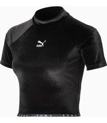 high neck velour t-shirt, zwart, maat xxs | puma