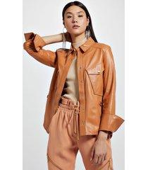 camisa de couro bolso lateral marrom boho - 34